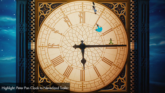 Wide shot of clock from Peter Pan.